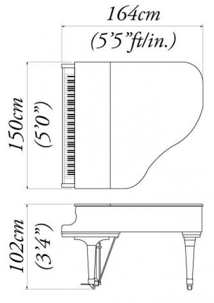 Kawai ge 30 grand piano for Dimensions of baby grand piano